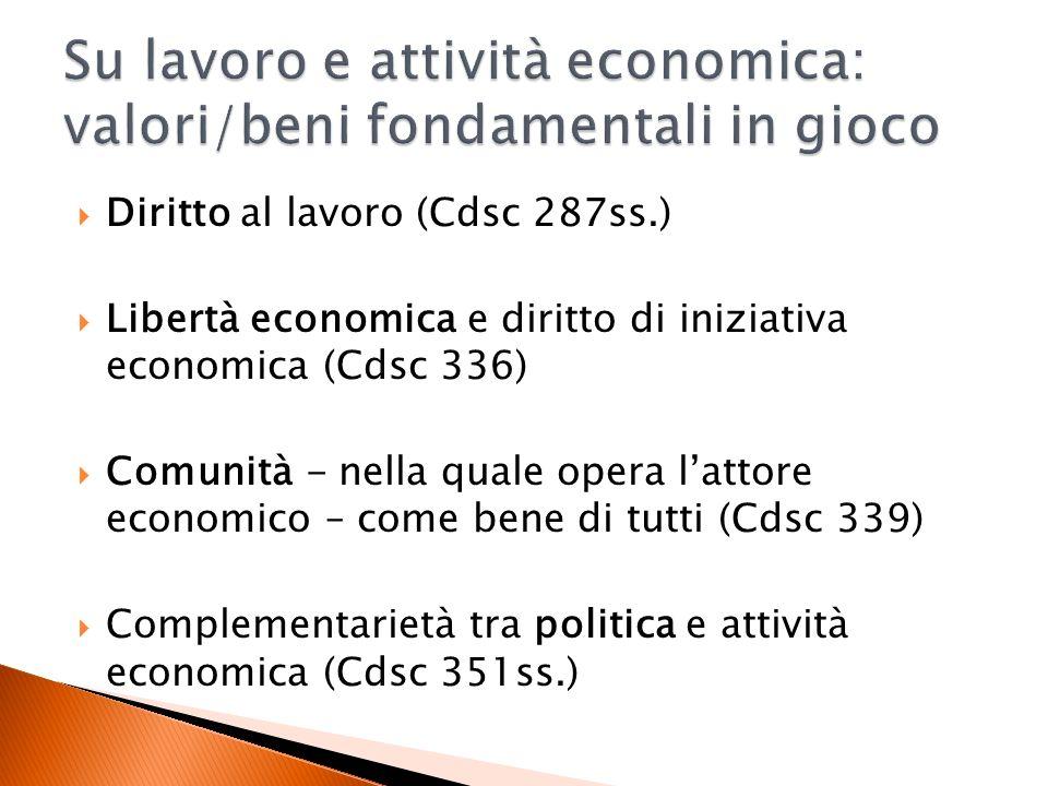 Diritto al lavoro (Cdsc 287ss.) Libertà economica e diritto di iniziativa economica (Cdsc 336) Comunità - nella quale opera lattore economico – come bene di tutti (Cdsc 339) Complementarietà tra politica e attività economica (Cdsc 351ss.)
