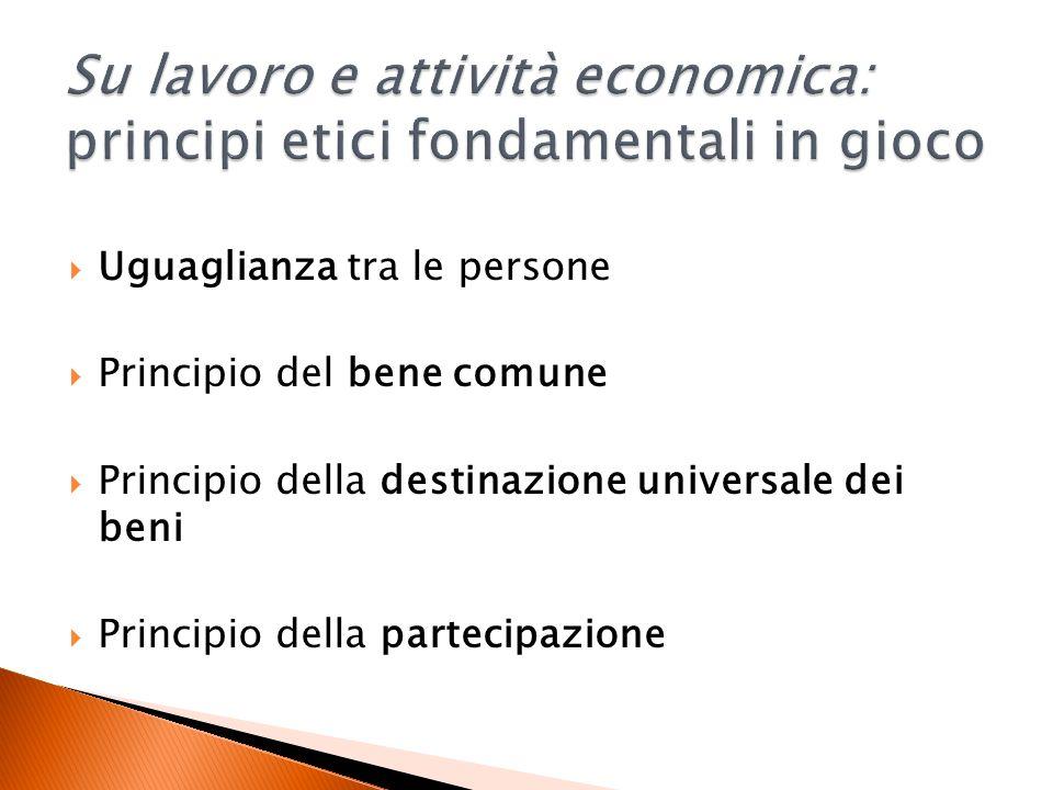 Uguaglianza tra le persone Principio del bene comune Principio della destinazione universale dei beni Principio della partecipazione