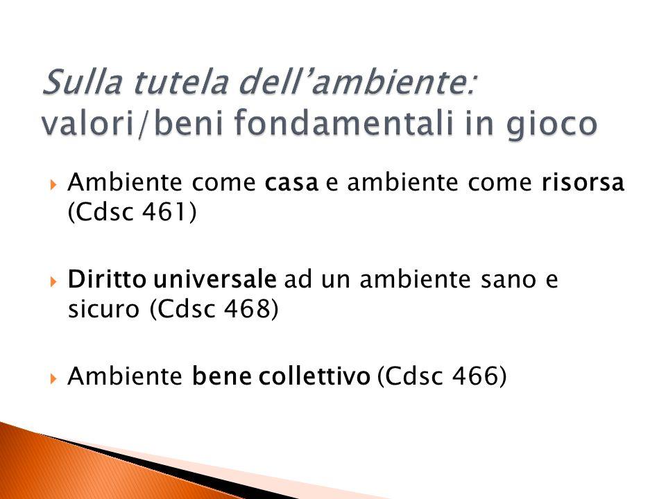Ambiente come casa e ambiente come risorsa (Cdsc 461) Diritto universale ad un ambiente sano e sicuro (Cdsc 468) Ambiente bene collettivo (Cdsc 466)