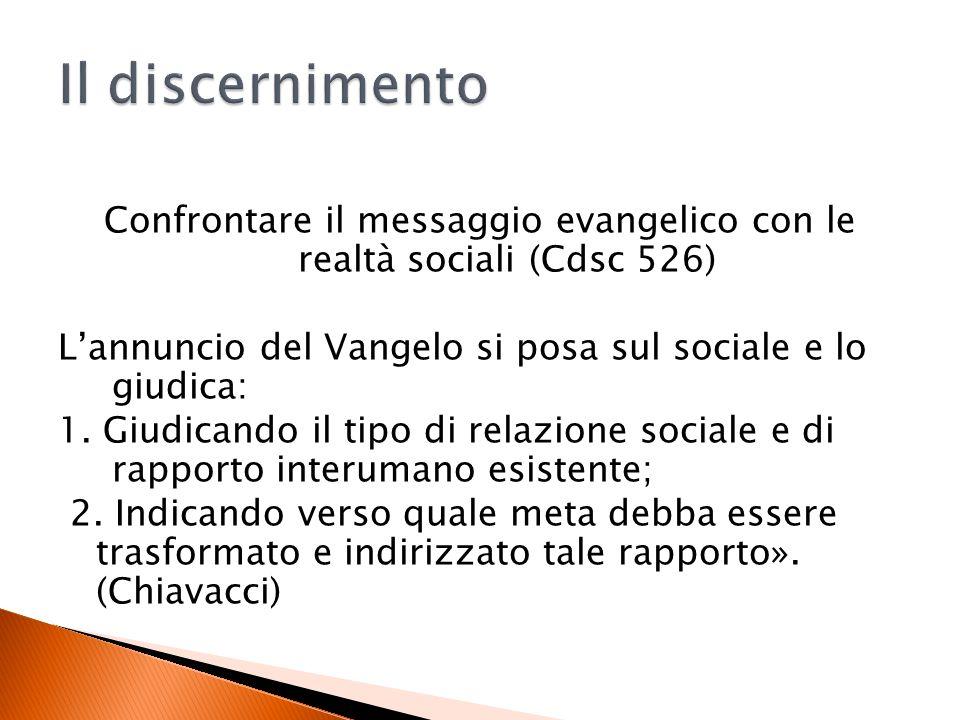 Confrontare il messaggio evangelico con le realtà sociali (Cdsc 526) Lannuncio del Vangelo si posa sul sociale e lo giudica: 1.