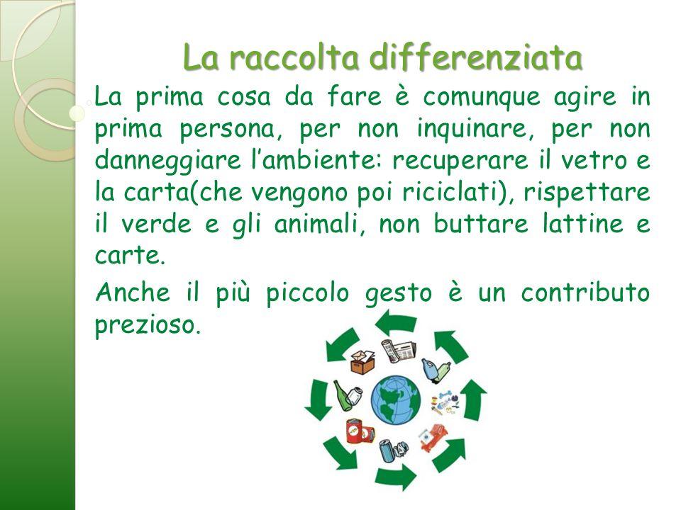 La raccolta differenziata La prima cosa da fare è comunque agire in prima persona, per non inquinare, per non danneggiare lambiente: recuperare il vet