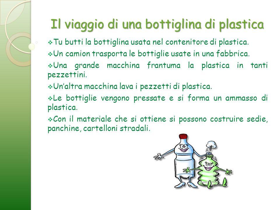 Il viaggio di una bottiglina di plastica Tu butti la bottiglina usata nel contenitore di plastica. Un camion trasporta le bottiglie usate in una fabbr