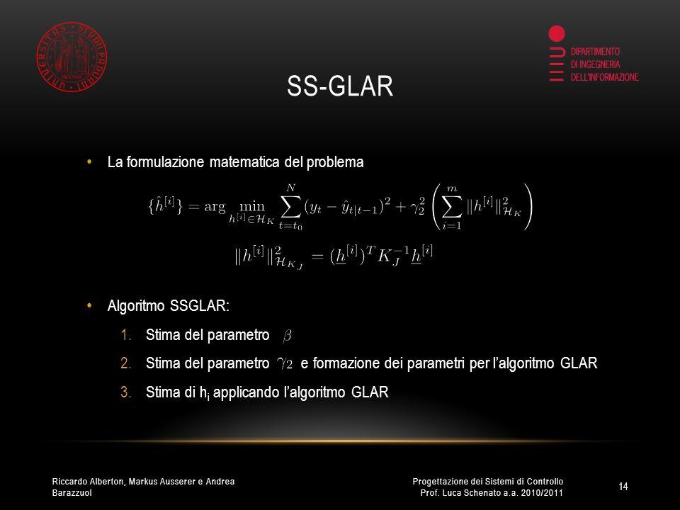 SS-GLAR La formulazione matematica del problema Algoritmo SSGLAR: 1.Stima del parametro 2.Stima del parametro e formazione dei parametri per lalgoritmo GLAR 3.Stima di h i applicando lalgoritmo GLAR 14 Progettazione dei Sistemi di Controllo Prof.