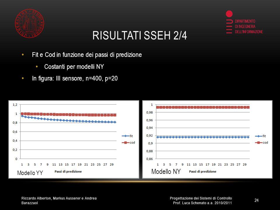 RISULTATI SSEH 2/4 Fit e Cod in funzione dei passi di predizione Costanti per modelli NY In figura: III sensore, n=400, p=20 24 Progettazione dei Sistemi di Controllo Prof.