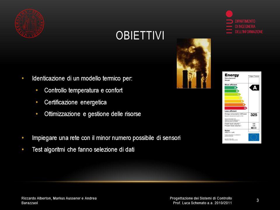RACCOLTA DATI 1/2 Sensori Tmote Sky: Temperatura Umidità Irraggiamento 4 Progettazione dei Sistemi di Controllo Prof.