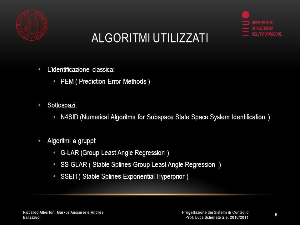 ALGORITMI UTILIZZATI Lidentificazione classica: PEM ( Prediction Error Methods ) Sottospazi: N4SID (Numerical Algoritms for Subspace State Space System Identification ) Algoritmi a gruppi: G-LAR (Group Least Angle Regression ) SS-GLAR ( Stable Splines Group Least Angle Regression ) SSEH ( Stable Splines Exponential Hyperprior ) 9 Progettazione dei Sistemi di Controllo Prof.