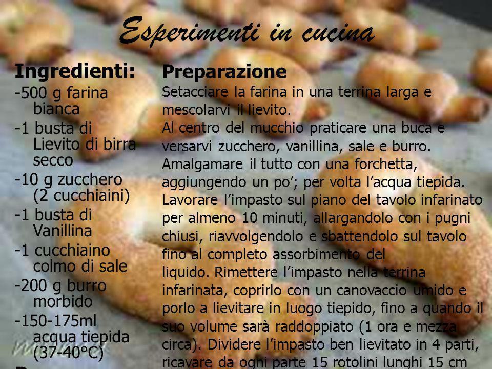 Esperimenti in cucina Ingredienti: -500 g farina bianca -1 busta di Lievito di birra secco -10 g zucchero (2 cucchiaini) -1 busta di Vanillina -1 cucc