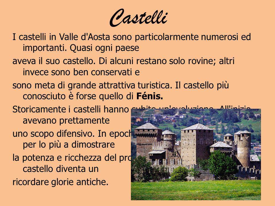 Castelli I castelli in Valle d'Aosta sono particolarmente numerosi ed importanti. Quasi ogni paese aveva il suo castello. Di alcuni restano solo rovin