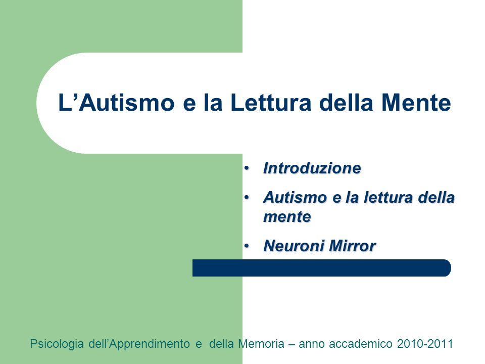 LAutismo e la Lettura della Mente Psicologia dellApprendimento e della Memoria – anno accademico 2010-2011 IntroduzioneIntroduzione Autismo e la lettu