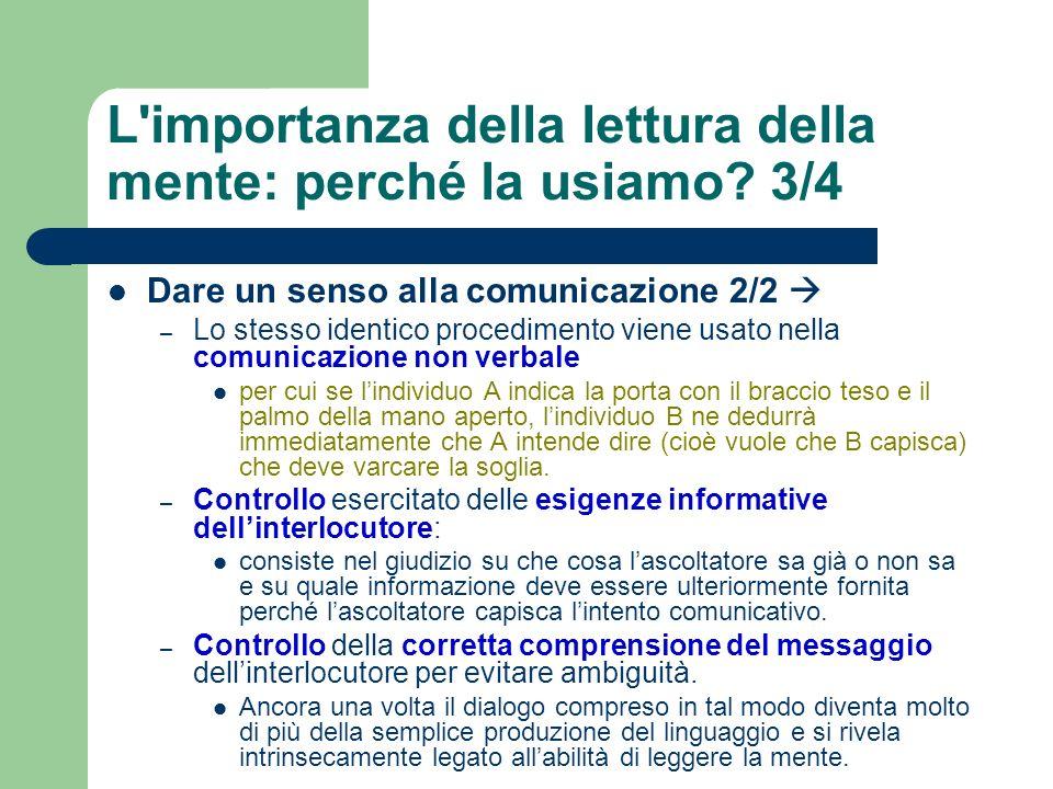 L'importanza della lettura della mente: perché la usiamo? 3/4 Dare un senso alla comunicazione 2/2 – Lo stesso identico procedimento viene usato nella