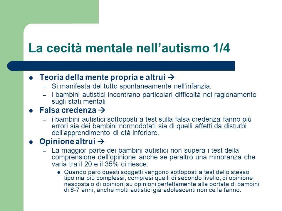 La cecità mentale nellautismo 1/4 Teoria della mente propria e altrui – Si manifesta del tutto spontaneamente nellinfanzia. – I bambini autistici inco