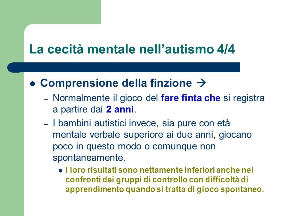 La cecità mentale nellautismo 4/4 Comprensione della finzione – Normalmente il gioco del fare finta che si registra a partire dai 2 anni. – I bambini