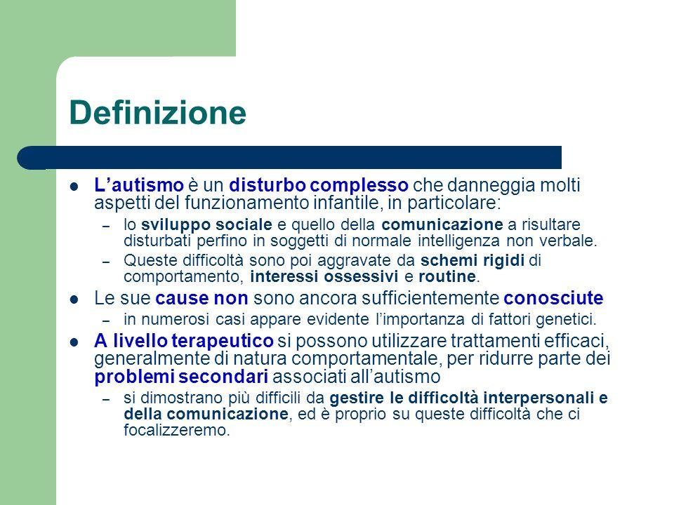 Definizione Lautismo è un disturbo complesso che danneggia molti aspetti del funzionamento infantile, in particolare: – lo sviluppo sociale e quello d