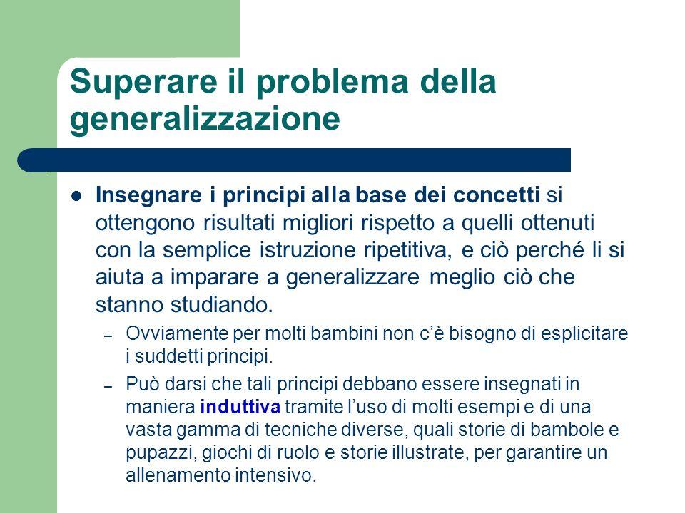 Superare il problema della generalizzazione Insegnare i principi alla base dei concetti si ottengono risultati migliori rispetto a quelli ottenuti con