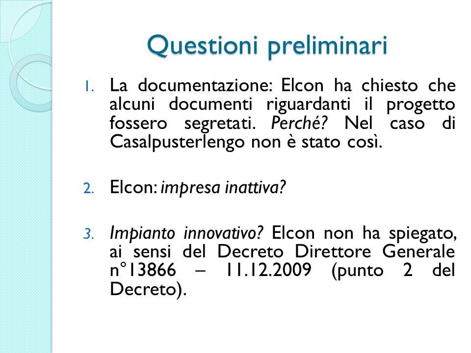 Questioni preliminari 1.