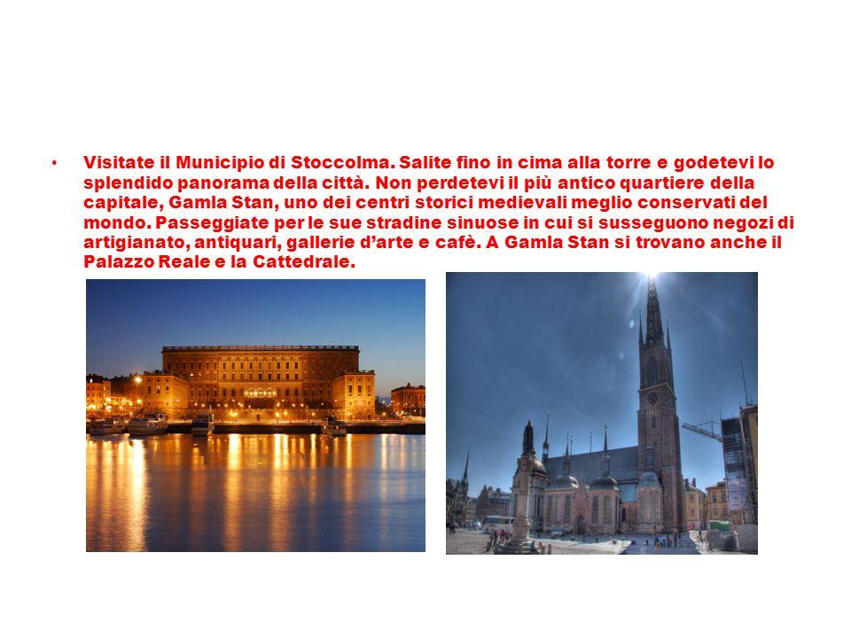 Visitate il Municipio di Stoccolma. Salite fino in cima alla torre e godetevi lo splendido panorama della città. Non perdetevi il più antico quartiere