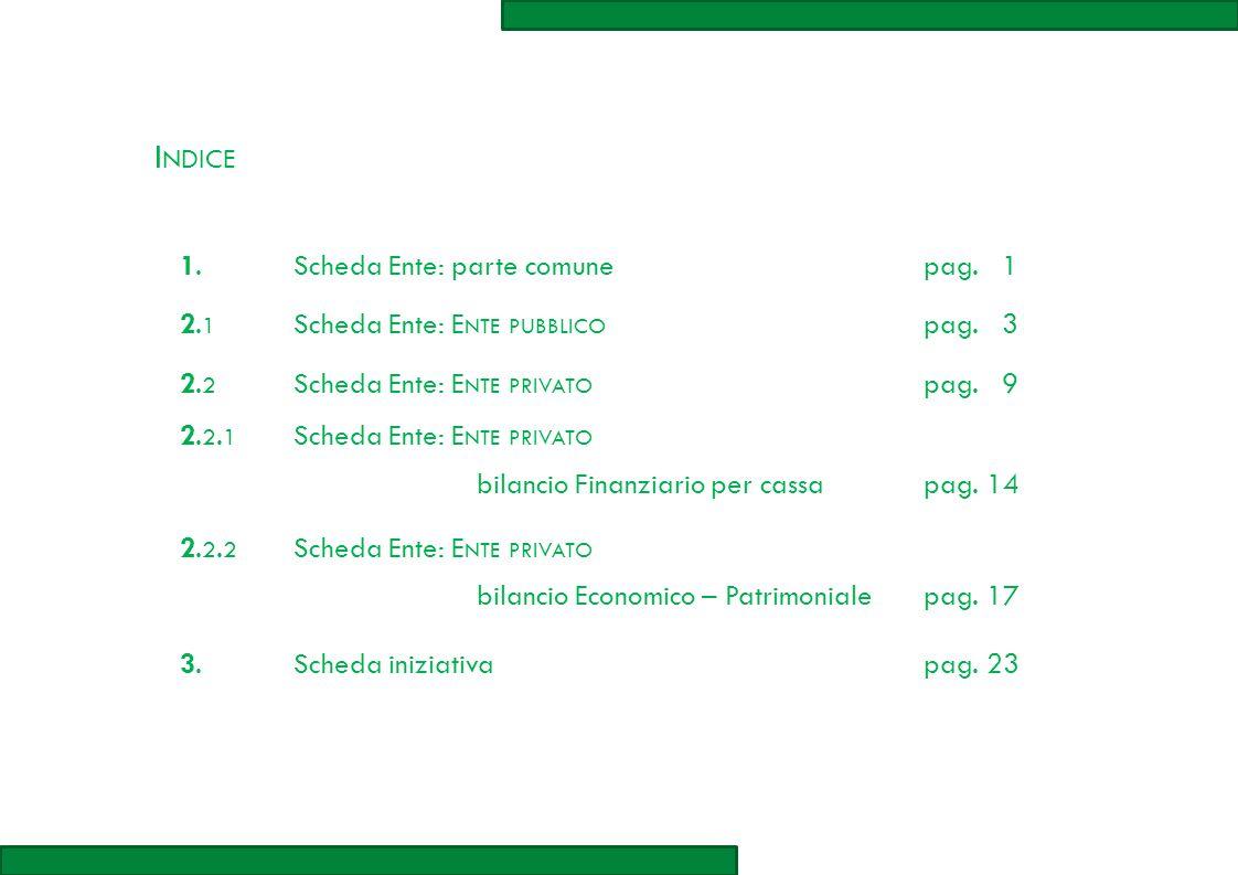 I NDICE 1.1.Scheda Ente: parte comunepag. 1 2.12.1 Scheda Ente: E NTE PUBBLICO pag.