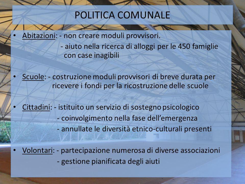 POLITICA COMUNALE Abitazioni: - non creare moduli provvisori.