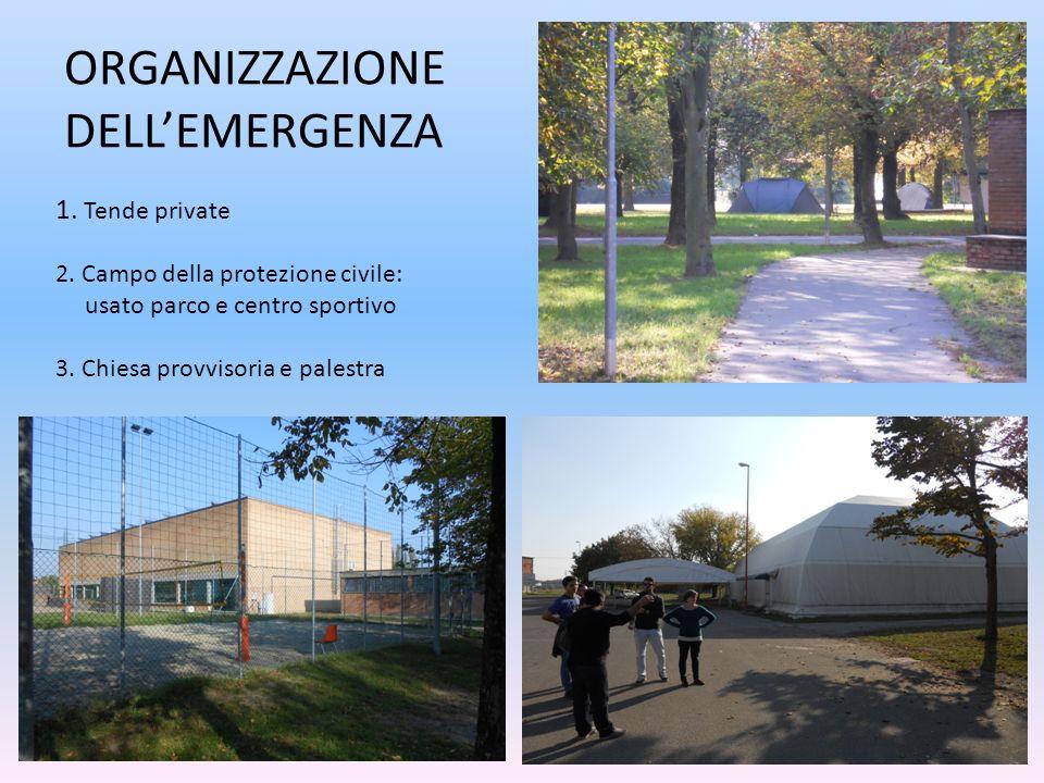 1. Tende private 2. Campo della protezione civile: usato parco e centro sportivo 3.