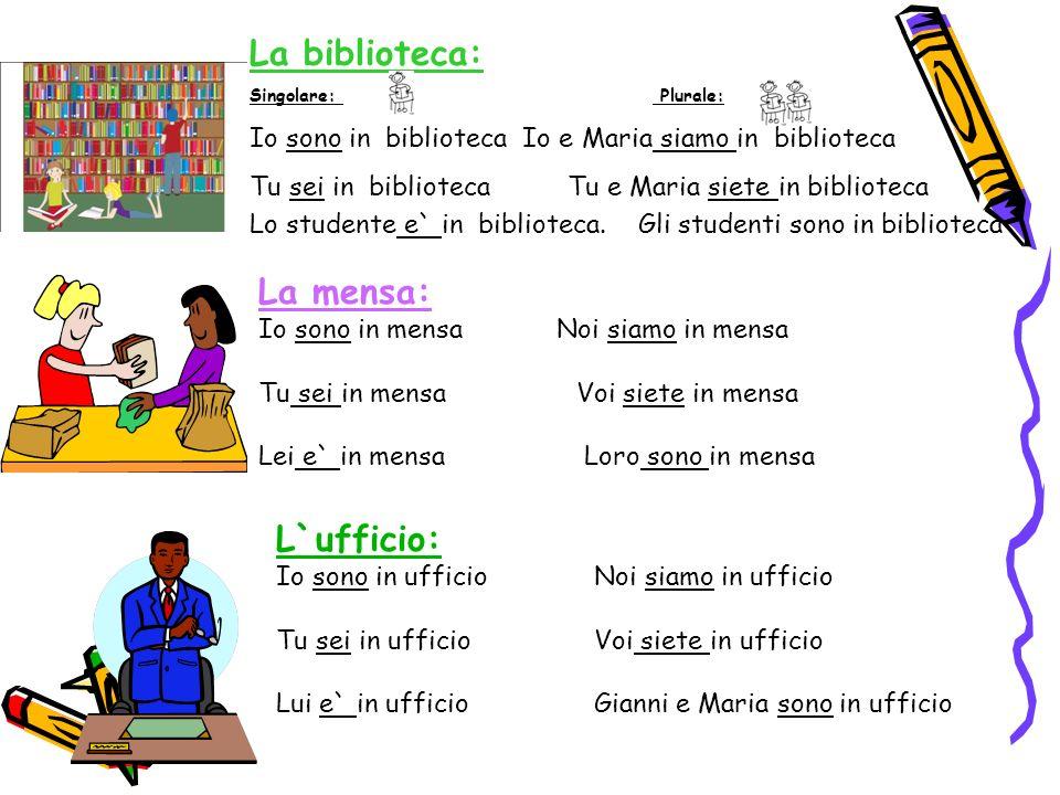 La biblioteca: Singolare: Plurale: Io sono in biblioteca Io e Maria siamo in biblioteca Tu sei in bibliotecaTu e Maria siete in biblioteca Lo studente