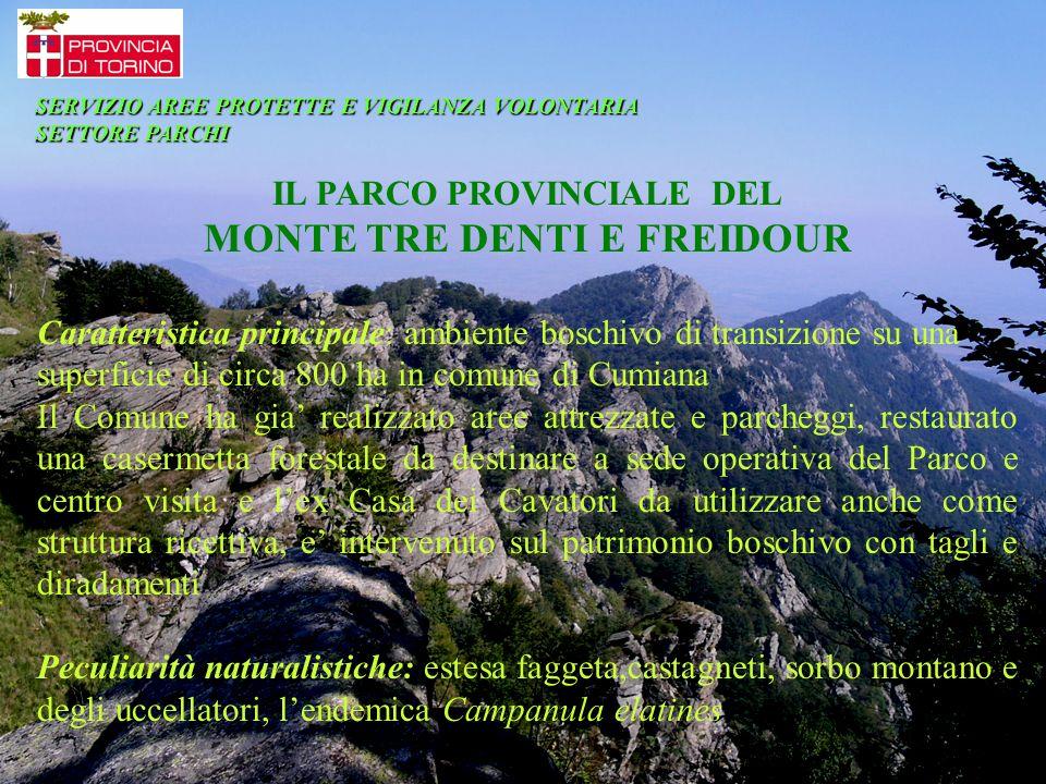 IL PARCO PROVINCIALE DEL MONTE TRE DENTI E FREIDOUR Caratteristica principale: ambiente boschivo di transizione su una superficie di circa 800 ha in c