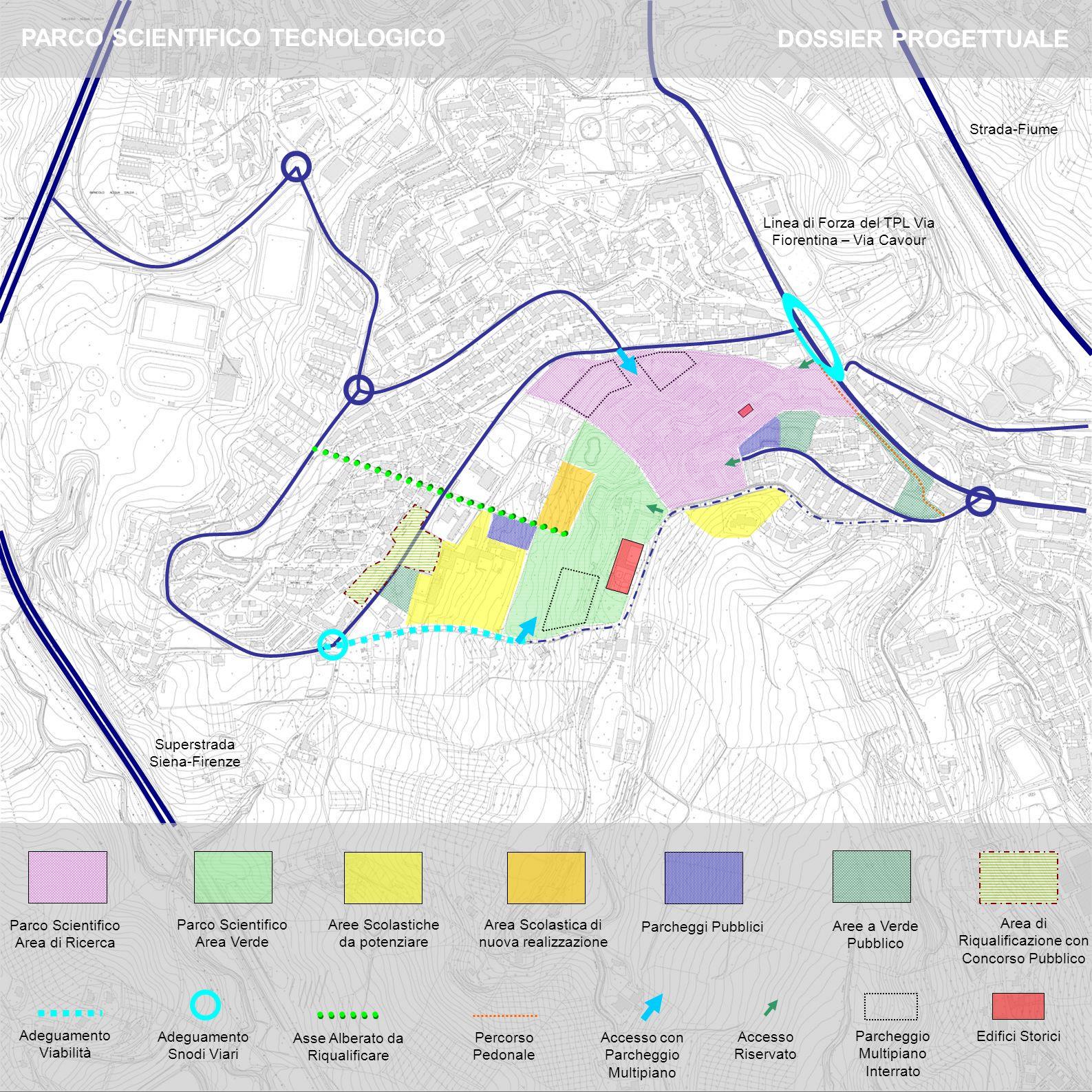 Parco Scientifico Area Verde Parco Scientifico Area di Ricerca Aree Scolastiche da potenziare Area Scolastica di nuova realizzazione Parcheggi Pubblic
