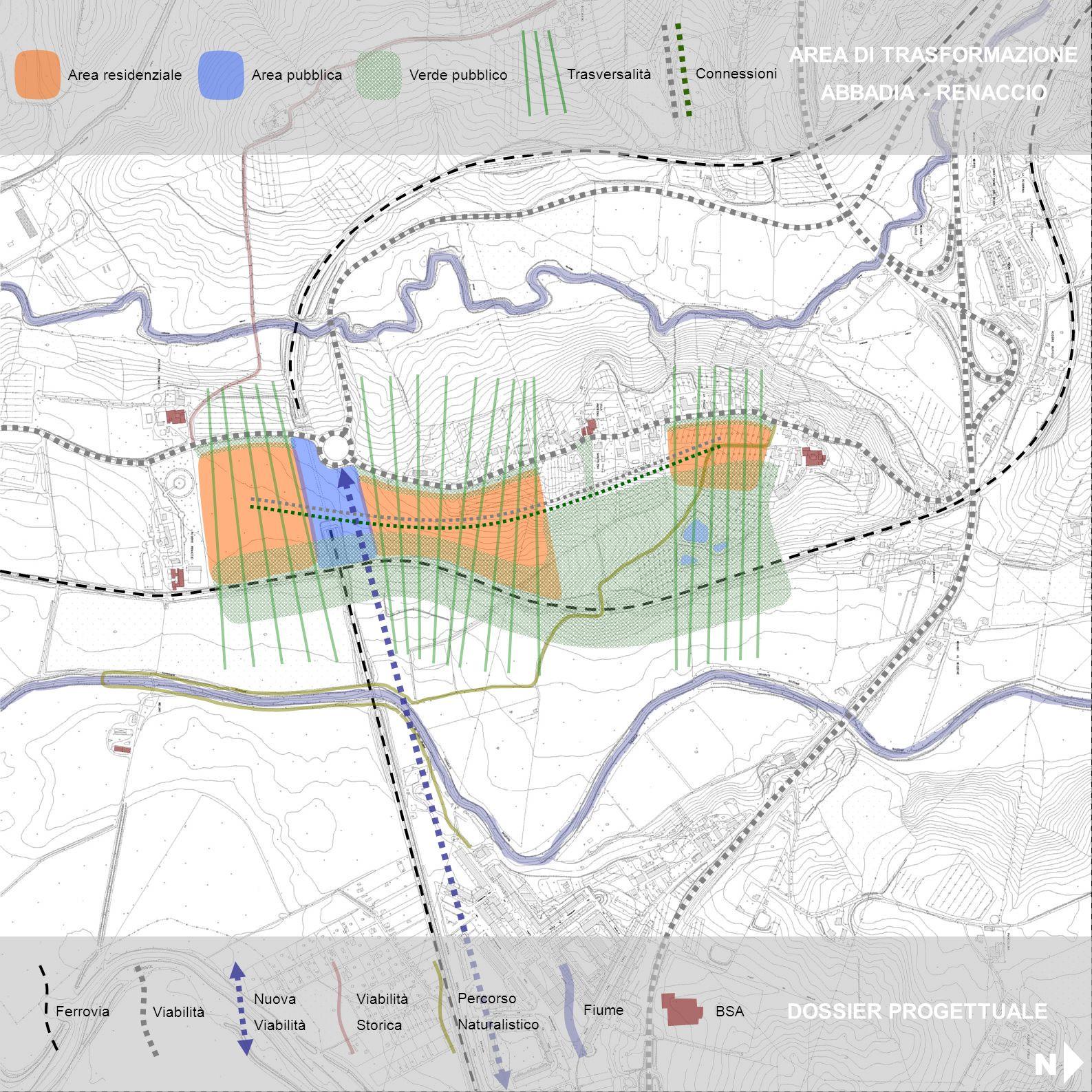 Area residenziale Area pubblicaVerde pubblico Trasversalità Connessioni AREA DI TRASFORMAZIONE ABBADIA - RENACCIO Ferrovia Viabilità Nuova Viabilità B