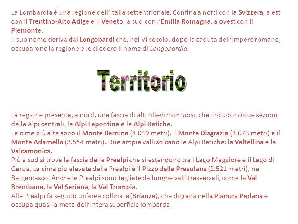 La Lombardia è una regione dellItalia settentrionale. Confina a nord con la Svizzera, a est con il Trentino-Alto Adige e il Veneto, a sud con lEmilia