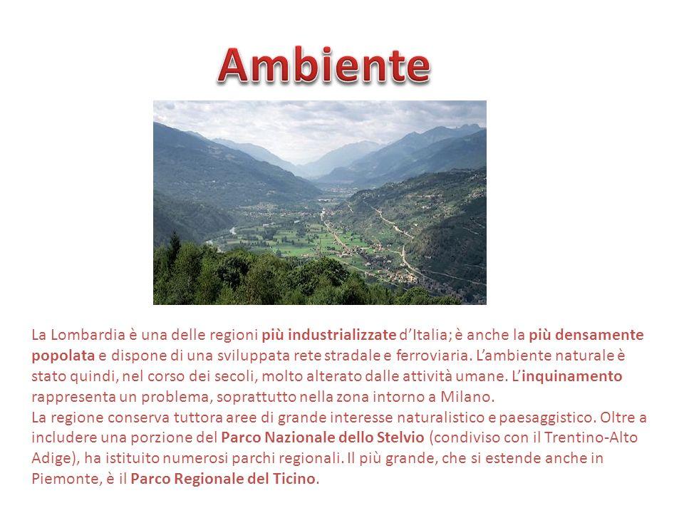 La Lombardia è una delle regioni più industrializzate dItalia; è anche la più densamente popolata e dispone di una sviluppata rete stradale e ferrovia