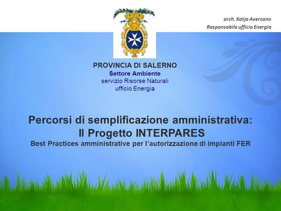 Percorsi di semplificazione amministrativa: Il Progetto INTERPARES Best Practices amministrative per lautorizzazione di impianti FER arch.