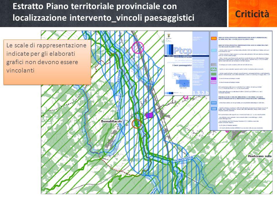 Estratto Piano territoriale provinciale con localizzazione intervento_vincoli paesaggistici Le scale di rappresentazione indicate per gli elaborati grafici non devono essere vincolanti Criticità