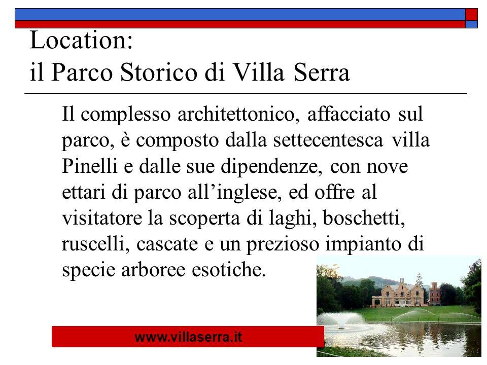 Location: il Parco Storico di Villa Serra Il complesso architettonico, affacciato sul parco, è composto dalla settecentesca villa Pinelli e dalle sue