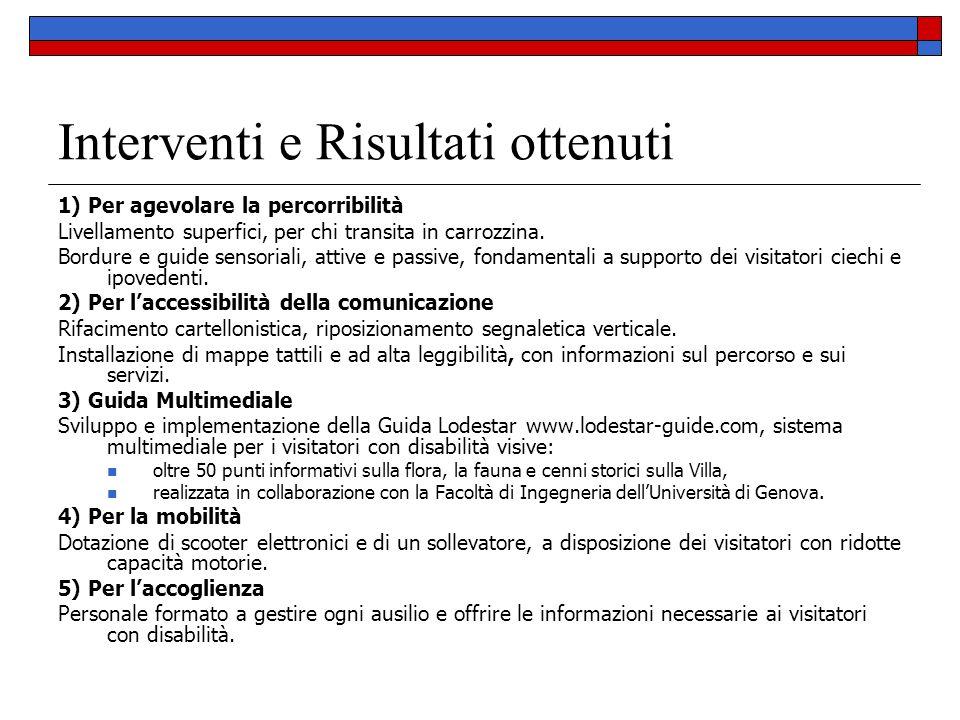 Interventi e Risultati ottenuti 1) Per agevolare la percorribilità Livellamento superfici, per chi transita in carrozzina. Bordure e guide sensoriali,