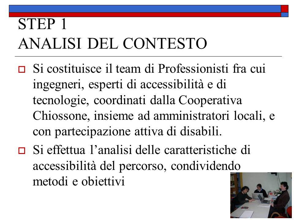 STEP 1 ANALISI DEL CONTESTO Si costituisce il team di Professionisti fra cui ingegneri, esperti di accessibilità e di tecnologie, coordinati dalla Coo