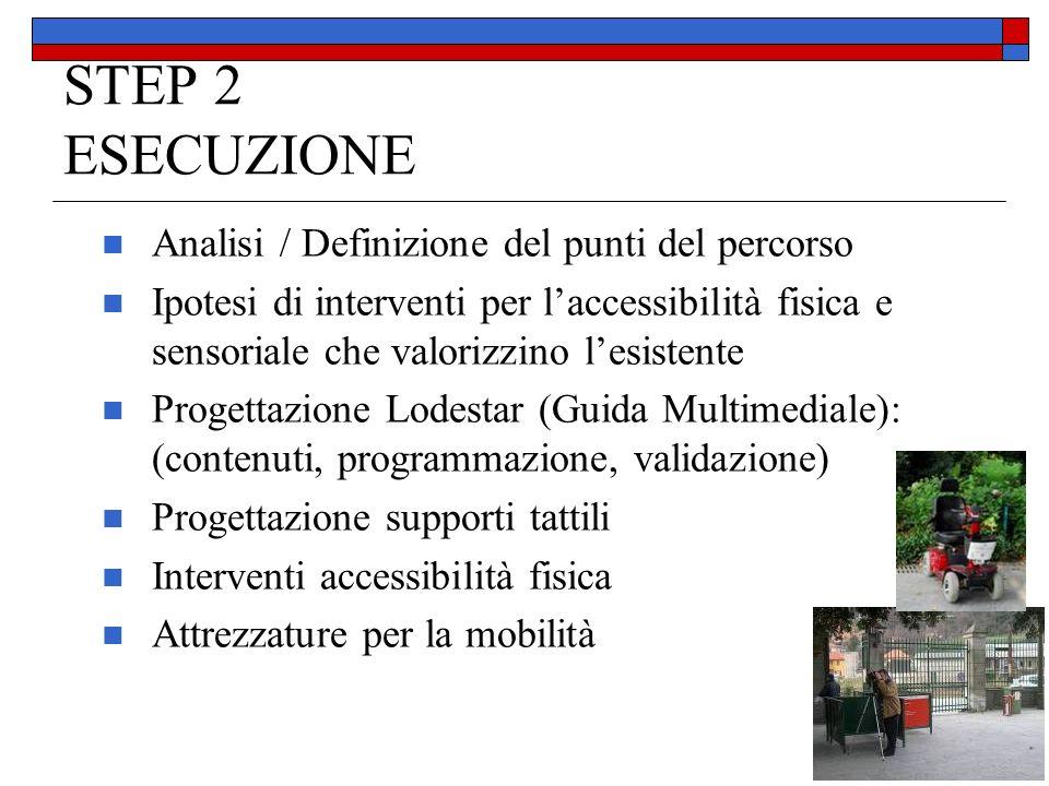 STEP 2 ESECUZIONE Analisi / Definizione del punti del percorso Ipotesi di interventi per laccessibilità fisica e sensoriale che valorizzino lesistente