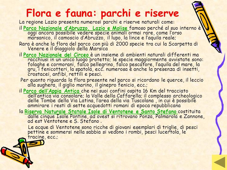 Flora e fauna: parchi e riserve La regione Lazio presenta numerosi parchi e riserve naturali come: il Parco Nazionale dAbruzzo, Lazio e Molise famoso
