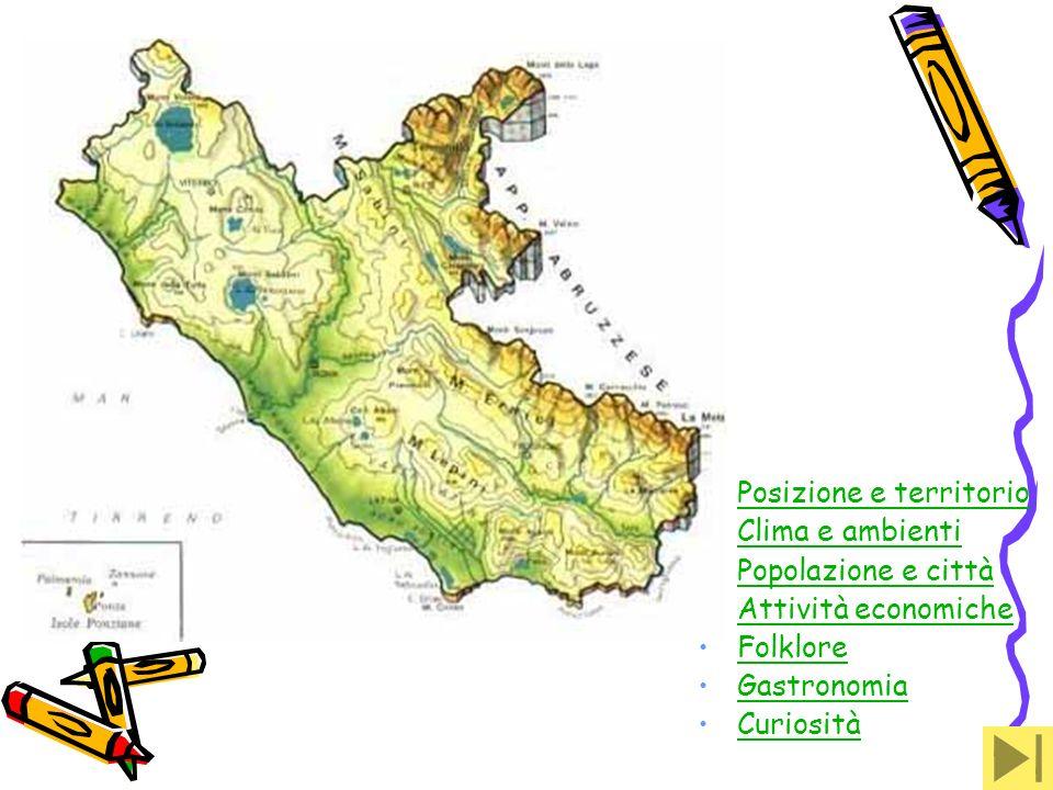 LAZIOLAZIO Posizione e Confine: Il territorio che comprende il Lazio si estende dagli Appennini e scende alla costa del Mar Tirreno.