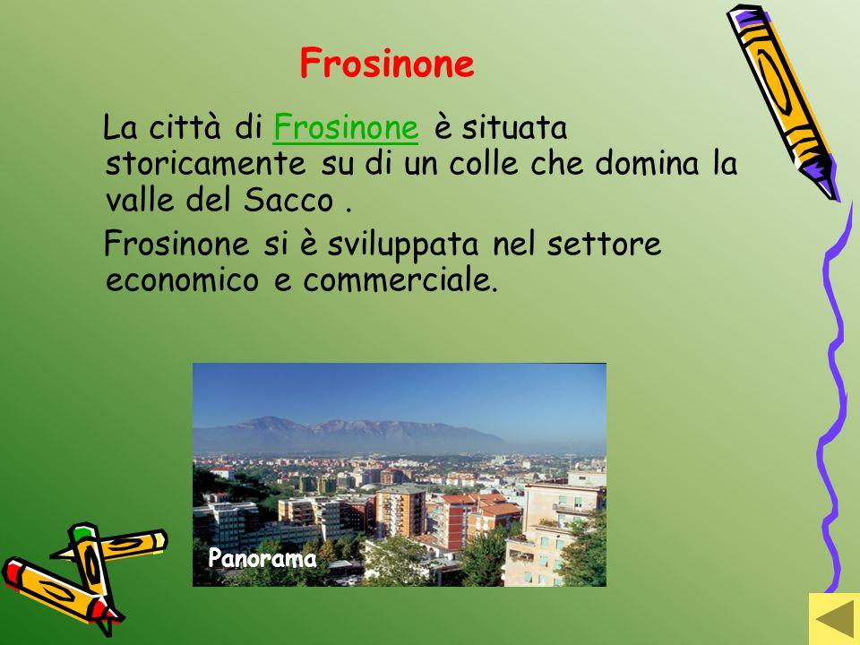 Frosinone La città di Frosinone è situata storicamente su di un colle che domina la valle del Sacco.Frosinone Frosinone si è sviluppata nel settore ec