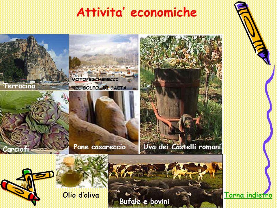 Attivita economiche Terracina MOTOPESCHERECCI NEL GOLFO DI GAETA Carciofi Bufale nellagro pontino Pane casareccioUva dei Castelli romani Olio doliva B