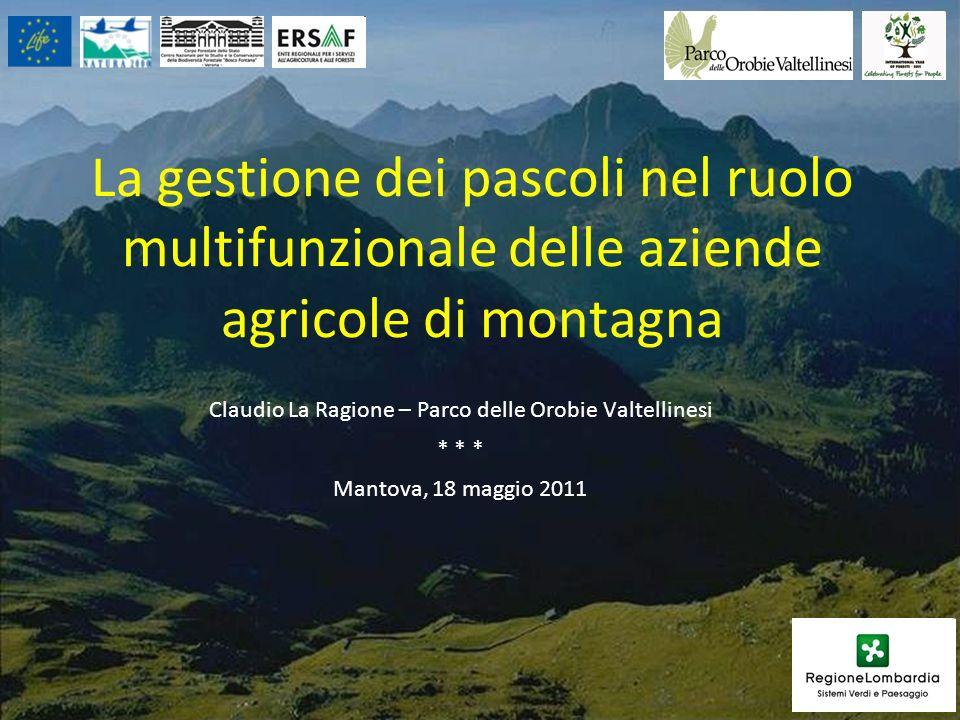 La gestione dei pascoli nel ruolo multifunzionale delle aziende agricole di montagna Claudio La Ragione – Parco delle Orobie Valtellinesi * * * Mantov