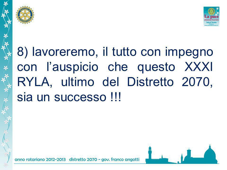 8) lavoreremo, il tutto con impegno con lauspicio che questo XXXI RYLA, ultimo del Distretto 2070, sia un successo !!!