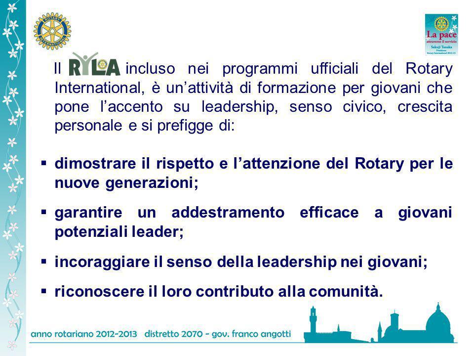 Il incluso nei programmi ufficiali del Rotary International, è unattività di formazione per giovani che pone laccento su leadership, senso civico, cre