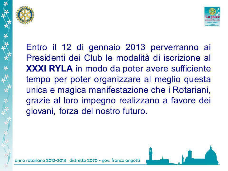 Entro il 12 di gennaio 2013 perverranno ai Presidenti dei Club le modalità di iscrizione al XXXI RYLA in modo da poter avere sufficiente tempo per pot