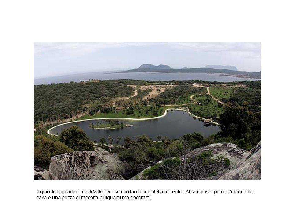 Il grande lago artificiale di Villa certosa con tanto di isoletta al centro. Al suo posto prima c'erano una cava e una pozza di raccolta di liquami ma