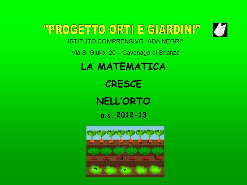 ISTITUTO COMPRENSIVO ADA NEGRI Via S: Giulio, 20 – Cavenago di Brianza LA MATEMATICA CRESCE NELLORTO a.s. 2012-13