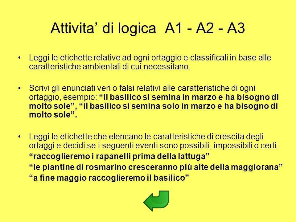 Attivita di logica A1 - A2 - A3 Leggi le etichette relative ad ogni ortaggio e classificali in base alle caratteristiche ambientali di cui necessitano