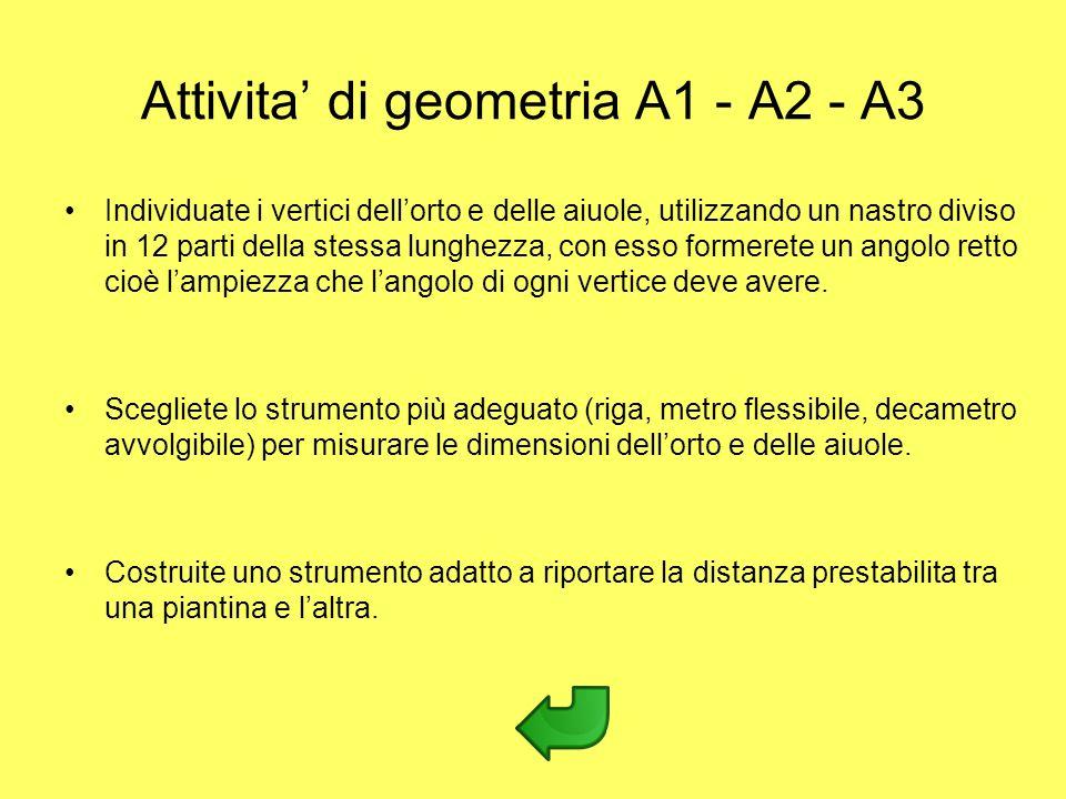 Attivita di geometria A1 - A2 - A3 Individuate i vertici dellorto e delle aiuole, utilizzando un nastro diviso in 12 parti della stessa lunghezza, con
