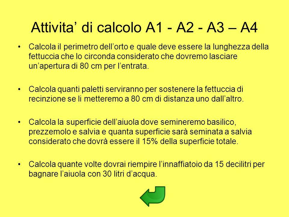 Attivita di calcolo A1 - A2 - A3 – A4 Calcola il perimetro dellorto e quale deve essere la lunghezza della fettuccia che lo circonda considerato che d