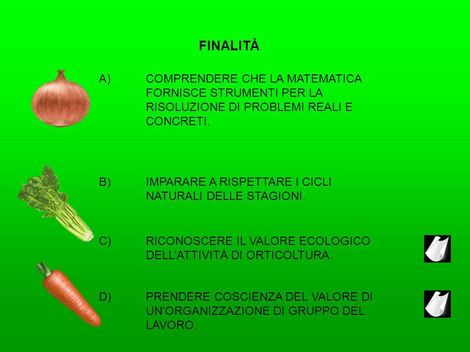 FINALITÀ A)COMPRENDERE CHE LA MATEMATICA FORNISCE STRUMENTI PER LA RISOLUZIONE DI PROBLEMI REALI E CONCRETI. B)IMPARARE A RISPETTARE I CICLI NATURALI