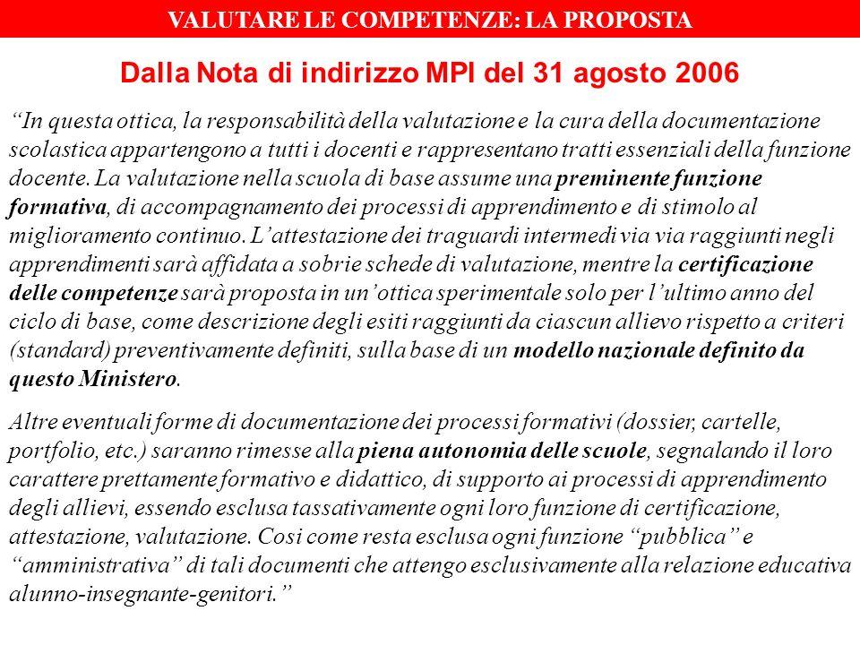 Dalla Nota di indirizzo MPI del 31 agosto 2006 In questa ottica, la responsabilità della valutazione e la cura della documentazione scolastica appartengono a tutti i docenti e rappresentano tratti essenziali della funzione docente.